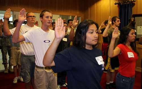 oath of enlistment being given