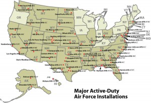 Major Air Force Installations map, Color