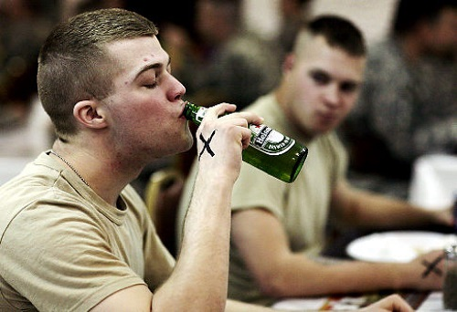 Soldier drinking