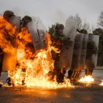 Soldiers of 40th Infantry Division Shines Under Gray German sky