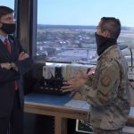 Esper Visits U.S., British Airmen at Base in England